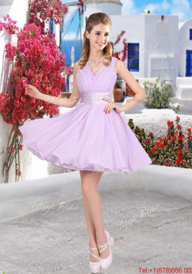Pretty Mini Length Belt Chiffon Prom Dresses with V Neck