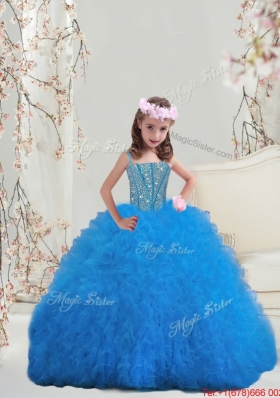 2016 Spring Perfect Spaghetti Teal Mini Quinceanera Dresses with Beading and Ruffles