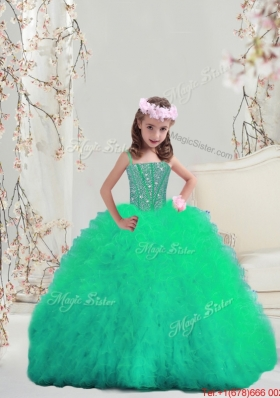 Sweet Spaghetti Apple Green Mini Quinceanera Dresses with Beading and Ruffles