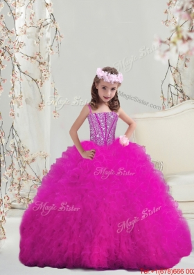 2015 Winter Modern Ball Gown Fuchsia Mini Quinceanera Dresses with Beading and Ruffles