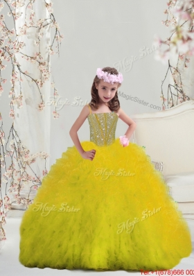 2015 Winter Suitable Yellow Spaghetti Mini Quinceanera Dresses with Beading and Ruffles