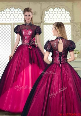 Beautiful High Neck Quinceanera Dresses with Short Sleeves