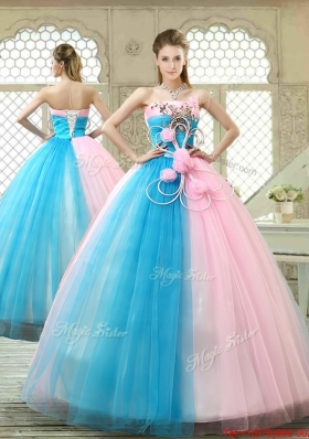Fashionable Hand Made Flowers Sweet 16 Gowns with Strapless