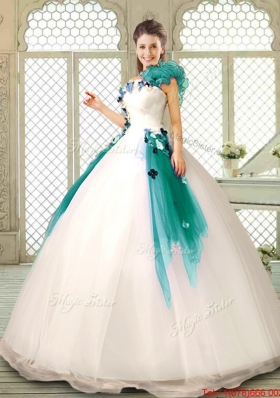 Perfect Appliques Multi Color Quinceanera Dresses with Ruffles for 2016 Summer