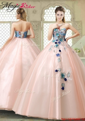 Perfect Strapless Sweet 16 Gowns with Appliques and Embroidery