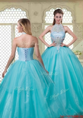 Popular Halter Top Quinceanera Dresses with Brush Train