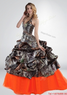 2015 Perfect  Sturning Halter Top Camo Wedding Dresses with Multi Color