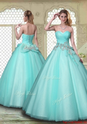 New Style Beading Sweetheart Quinceanera Dresses in Aqua Blue