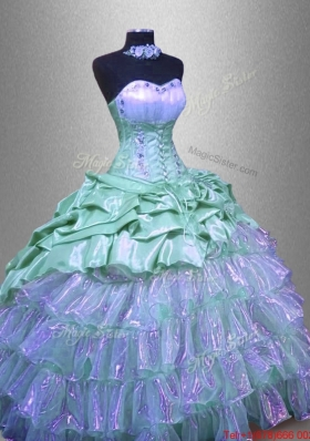 Elegant Ruffled Layers Sweet 16 Dresses with Beading