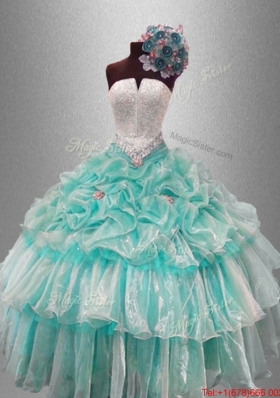 Pick Ups and Beaded Classical Sweet 16 Gowns with Ruffled Layers