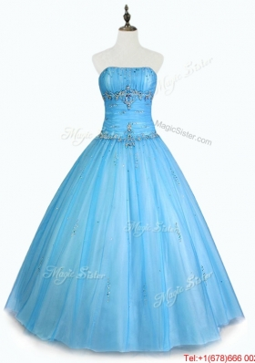 Simple Strapless Beaded Quinceanera Dresses with Floor Length