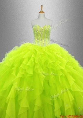 Yellow Green Beautiful Quinceanera Dresses with Ruffles