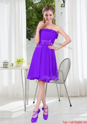 2016 Fall Popular A Line Strapless Bridesmaid Dress with Bowknot