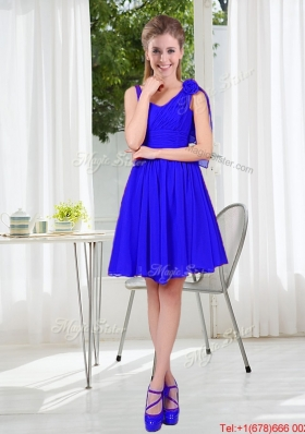 2016 Fall Straps Short Bridesmaid Dresses in Royal Blue