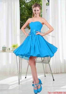 2016 Summer A Line Sweetheart Bridesmaid Dress in Baby Blue
