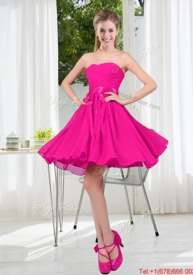 Custom Made Sweetheart Short Bridesmaid Dress with Bowknot