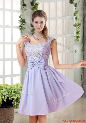 2016 Fall A Line Straps Lace Prom Dresses in Lavender
