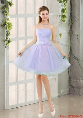 Artistic A Line Strapless Belt Bridesmaid Dresses with Hand Made Flowers