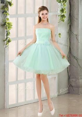 Custom Made A Line Strapless Bridesmaid Dresses with Belt