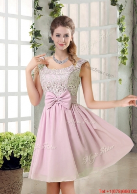 Custom Made A Line Straps Bridesmaid Dresses with Bowknot