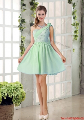 Perfect A Line One Shoulder Lace Bridesmaid Dresses Flowers
