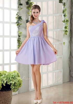 Pretty A Line One Shoulder Dama Dresses with Hand Made Flowers