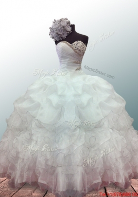 New Style Sweetheart Ball Gown White Quinceanera Dresses with Beading and Ruffles