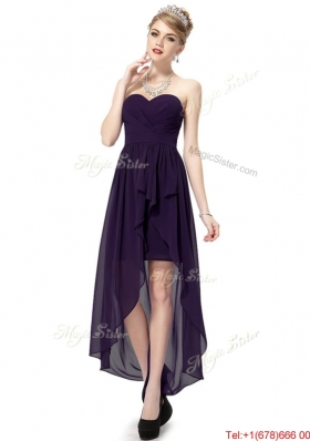 2016 Cheap High Low Sweetheart Purple Prom Dresses with Ruching