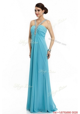 2016 Classical Brush Train Straps Beaded Prom Dresses in Aqua Blue