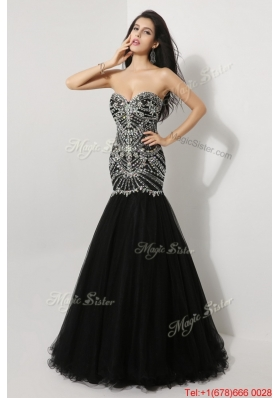 Beautiful Mermaid Sweetheart Beaded Prom Dresses in Black