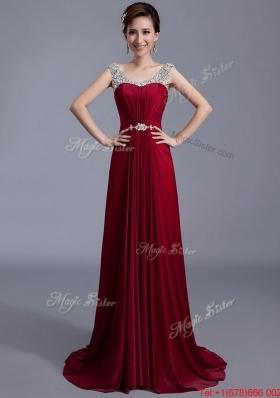 Cheap Brush Train Scoop Zipper Up Prom Dresses in Wine Red