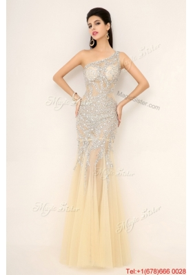 Elegant Champagne One Shoulder Prom Dresses with Side Zipper for 2016