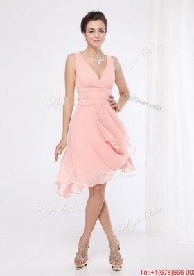 Elegant V Neck Side Zipper Prom Dresses with Asymmetrical