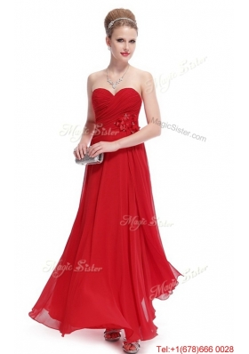 Gorgeous Sweetheart Ruched Red Prom Dresses with Appliques