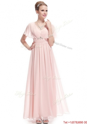 New Style V Neck Beaded Prom Dresses with Short Sleeves