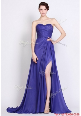 Perfect Sweetheart High Slit Prom Dresses in Royal Blue