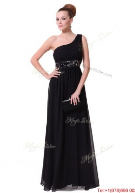 Pretty One Shoulder Sequined Prom Dresses in Black