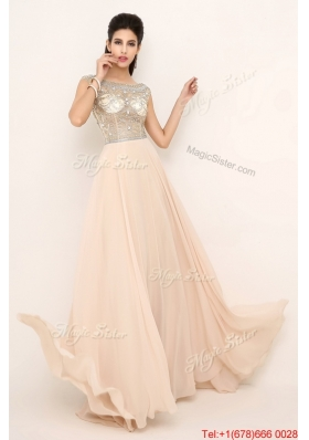 2016 Beautiful Beaded Bateau Prom Dresses with Brush Train