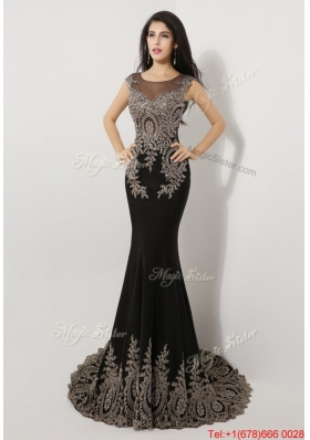 2016 Gorgeous Mermaid Appliques and Beaded Prom Dresses in Black