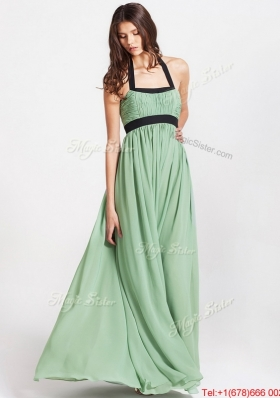 2016 Spring Modern Halter Top Prom Dresses with Ruching and Belt