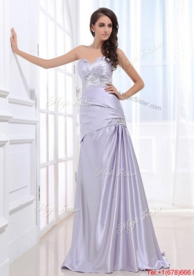 Beautiful Column Elastic Woven Satin Prom Dresses with Beading