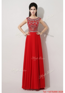 Discount Brush Train Beaded Prom Dresses with Bateau for 2016