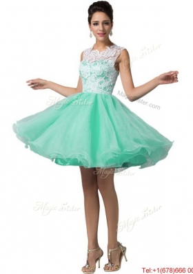 Elegant Laced Scoop A Line Prom Dresses in Apple Green for 2016