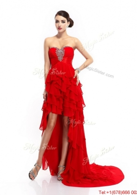 Fashionable High Low Lace Up Prom Gowns with Ruffled Layers for 2016