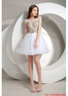Perfect A Line Beaded Mini Length Prom Dresses in White