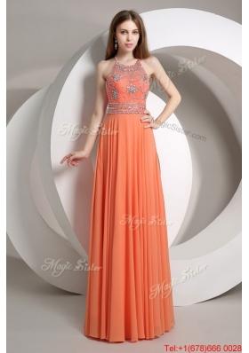 Perfect Beaded Empire Orange Prom Dresses with Halter Top