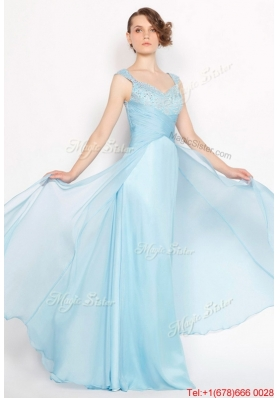 Perfect Straps Ruched Light Blue Prom Dresses with Beading