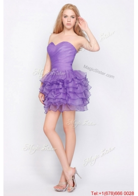 2016 Beautiful Sweetheart Lavender Short Prom Dresses with Ruffled Layers