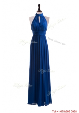 2016 Empire Halter Top Prom Dresses with Belt in Blue