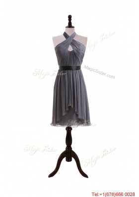 2016 Fall Empire Halter Top Ruching Prom Dresses with Belt
